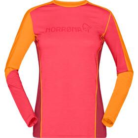 Norrøna Equaliser T-shirt Manches longues Col rond Mérinos Femme, crisp ruby/rhubarb